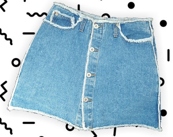 90s Vintage Blue Jean Mini Skort - Small Miniskirt Shorts Underneath - 1990s Fashion Shorts Under Mini Skirt - Grunge Frayed Denim Button Up