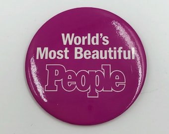 "3"" People Magazine Pinback Button Worlds Most Beautiful People Large Pinback Badge 3 Inch 90s Typography Rare Pink Glam Fashion Statement"
