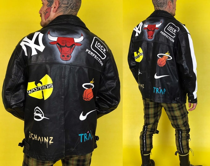 Vintage Hand Painted Leather Jacket Mens Large - Custom Leather 90s Iconic Logo Streetwear Outerwear - Sportswear Baggy Hip Hop Leather Coat