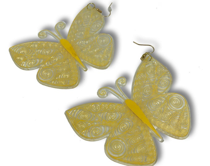 Oversized Butterfly Statement Earrings - Large Handmade Clear Yellow Accessory Trendy Pastel Jewelry BIG Funky Earrings - Rare Jewelry