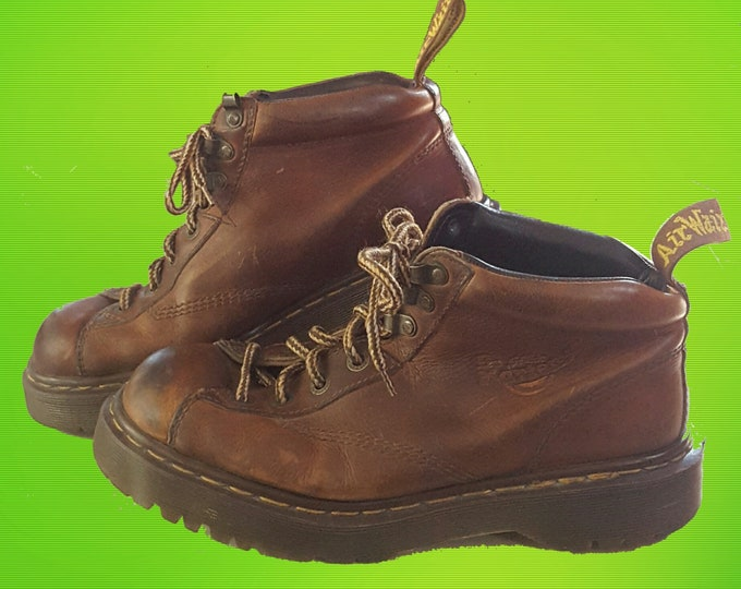 Vintage 90's Doc Martens Classic Leather Boots - Lace-Up Ankle Flat Boot Mens UK 8 - Made In England Rubber Sole Dr Marten Brown VTG Boots