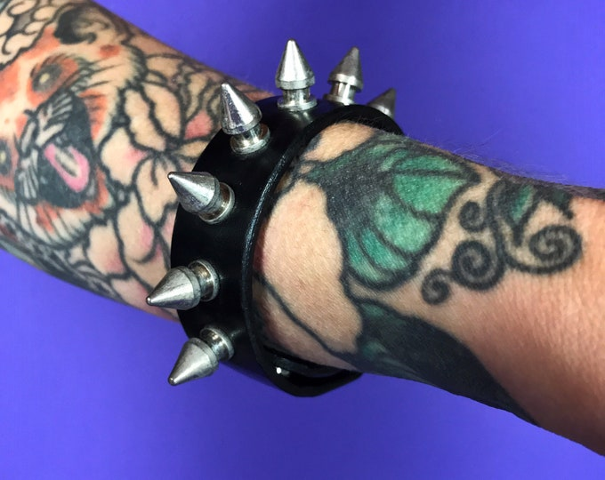 Vintage Black Leather Spiked Bracelet - Goth Grunge Genuine Leather Bracelet - Unisex Punk Arm Accessory Mens Womens SPIKED Goth Jewelry