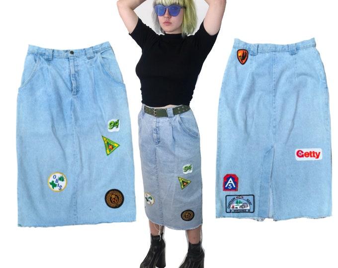 "Patched 80's High Waist Denim Midi Skirt Medium 30"" Waist - Remade Patches On Frayed Denim Skirt - Grunge Retro Womens RARE Statement Piece"