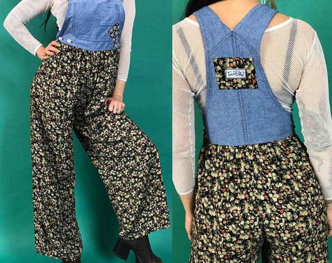 90's Pants Overalls Jumpsuit Denim Floral Print One Piece Small - Cute Casual Patchwork Denim Overalls Wide Leg Spring Black Flower Suit