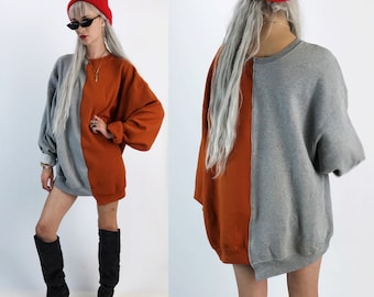 Reconstructed 2 Tone Pullover Sweatshirt Adult XL Plus - Remade Split Half & Half Mixed Color Block Upcycled - Weird Long Baggy Orange Gray