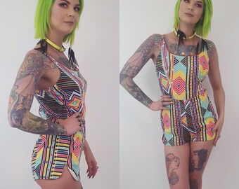 60's Vintage Rainbow Geometric Print Romper Medium - 1960s Onesie Vintage Shorts Printed Romper - Womens Unique FUN Summer One Piece