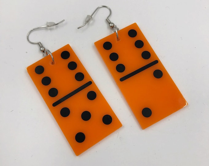 "Orange Domino Oversized Plastic Statement Earrings - 2.5"" Big Weird Fun Kawaii Plastic Funky Huge Charm Earrings Recycled Game Piece Jewelry"