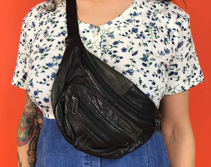 80s/90s Black Leather Fanny Pack Belt Bag - Patchwork Stitch Soft Leather Bum Bag - Unisex Messenger Mini Pouch - Vintage Crossbody Bag