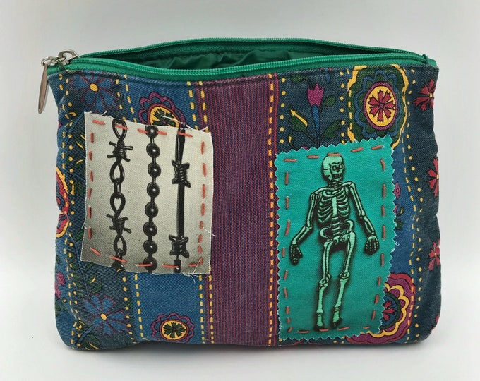 80's Cosmetic Travel Bag Clutch Zipper Purse - Weird Upcycled Unique Upcycled Hand Stitched DIY Punk Grunge Bag - Skeleton Barbed Wire Purse