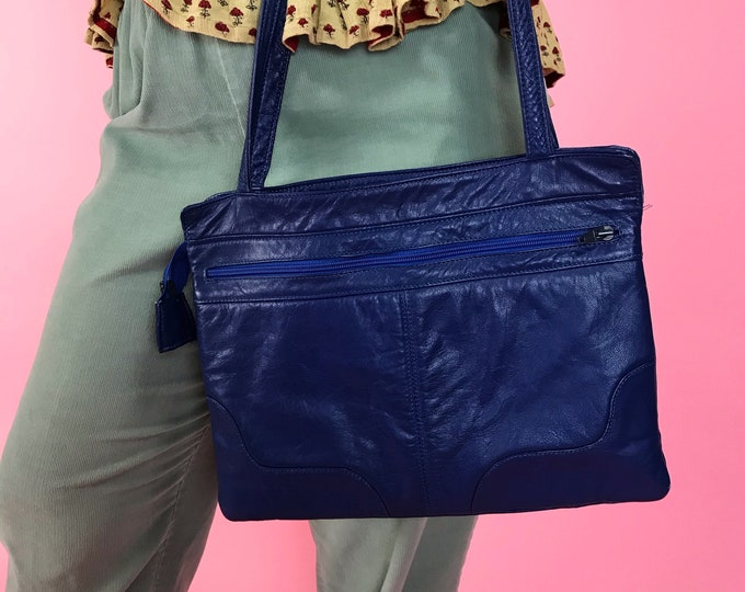 80's Blue Soft Leather Shoulder Bag - Basic Cobalt Blue Vintage Solid Color Everyday Purse - Multi Pocket Padded Purse Blue Statement Bag