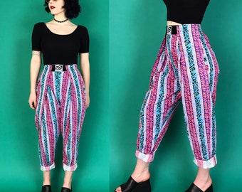 80s Abstract Print High Waist Womens Trousers Small - Tapered Leg Neon Adjustable Velcro Waistband VTG Streetwear - Summer Hip Hop Beach