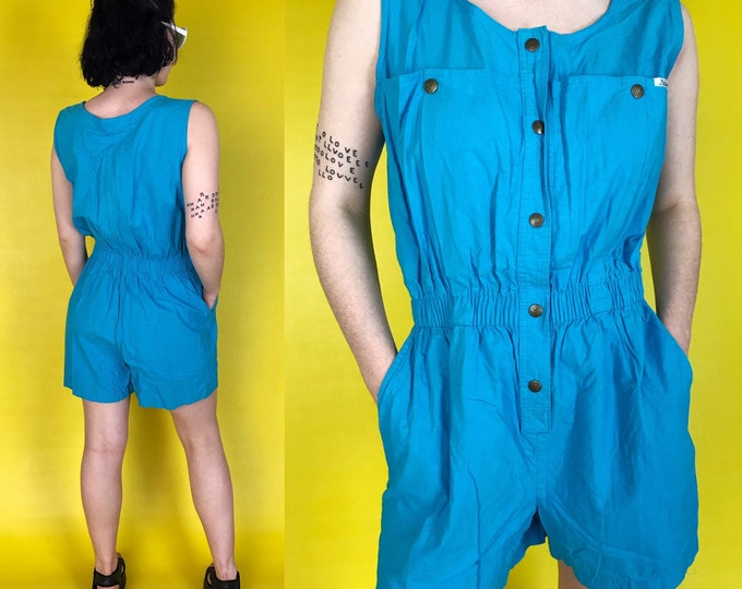 80's Vintage Sky Blue Shorts Romper 5/6 - Shorts One Piece Minimal Cargo Sleeveless Jumpsuit - Bright Blue Spring Basic Classic VTG Playsuit