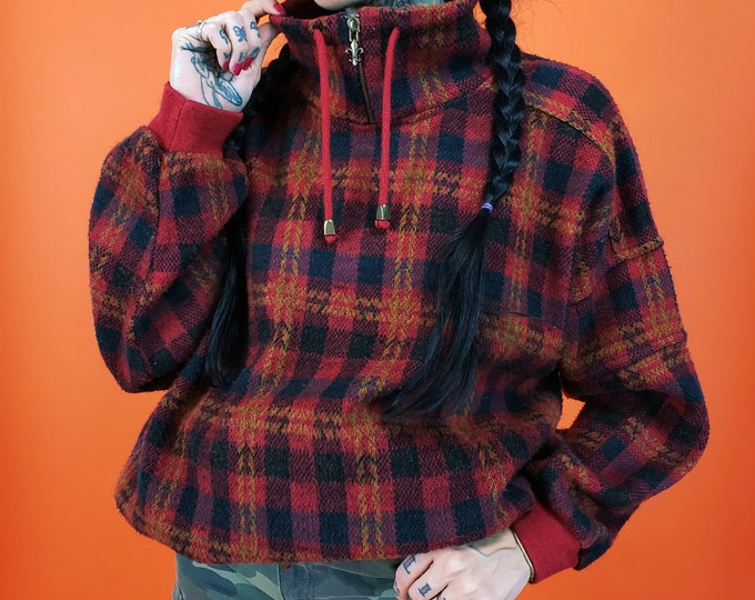 90's Red Plaid Knit Pullover Sweater Womens Medium - Classic Plaid Tartan Warm Fleece Jumper - Slouchy Baggy Brushed Acrylic Knit Sweater