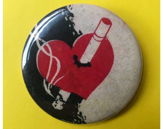 "2.25"" Pinback Button - Smoker Cigarette Ad Vintage Large Pinback Button - Red Wine Black Heart Smoker Button - Trendy Handmade BIG Button"