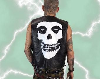Misfits Leather Vest Large - Mens Black Hog Leather Biker Punk Vest - Band Logo Skull Black White Misfits Punk Rock Moto Vest Hand Painted