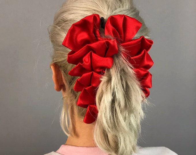 80's Cherry Red Giant BANANA Clip - Large Statement Hair Bow Girly Hipster Funky Holiday Valentines Accessory - VTG Big Red Fashion Clip