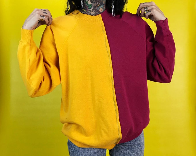 Vintage Reconstructed 2 Tone Pullover Sweatshirt Womens S/M - Remade Split Half Sewn Mixed Color Block Funky Upcycled Pink Yellow Streetwear