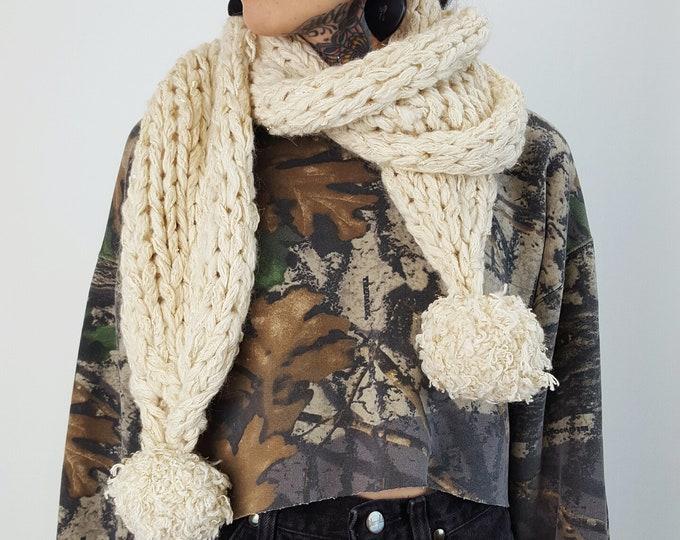 Cream Chunky Stitch Pompom Scarf - Large Handmade Knit Wrap Scarf With Pom Poms - Sparkly Gold Handknit Long Loop Neckwarmer Fall Winter