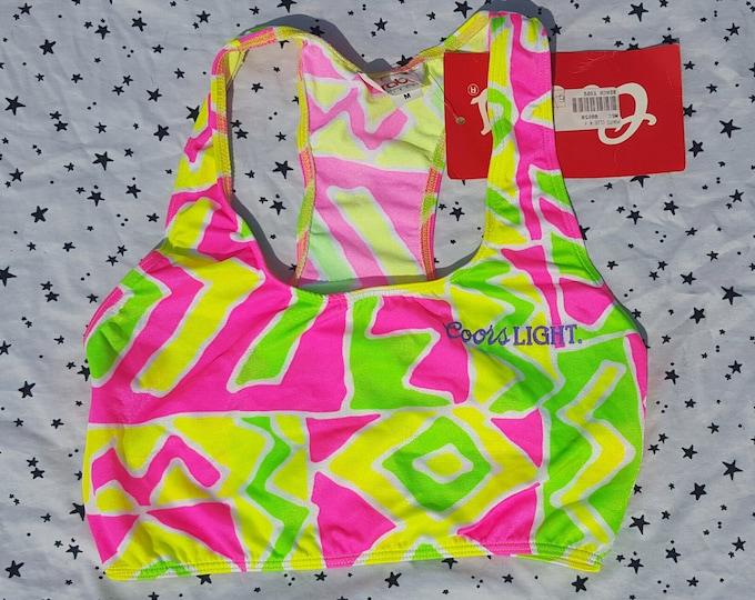 90s Vintage Neon Color Light Crop Top Small Medium - Bright Pink Yellow & Green Cropped Tank Top S/M - 1990s Sportsbra Tank w Original Tag
