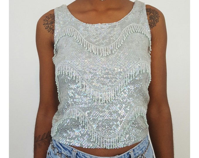 1950s Vintage Beaded Fringe Sparkle Tank - Mid Century Women's Small Tank with Allover Beads - 50s Mint Green Fringed Beaded Sleeveless Top