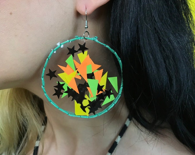 Handmade Clear Vinyl Hand Stitched Confetti Filled Statement Earrings - Weird Fun Neon Stars Round Oversized Dangly Statement Party Jewelry