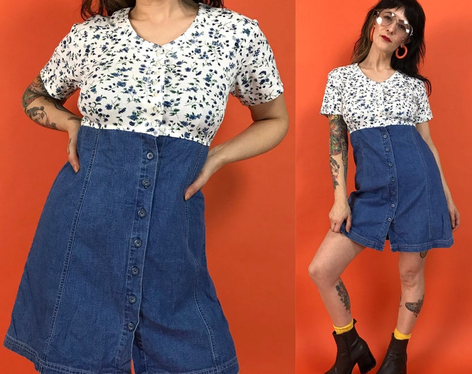 90's Denim Mini Dress Small 4/6 - Floral Shirt Dress Cute Casual Spring Button Front Dress - DEADSTOCK Comfy Everyday Sun Dress White Blue
