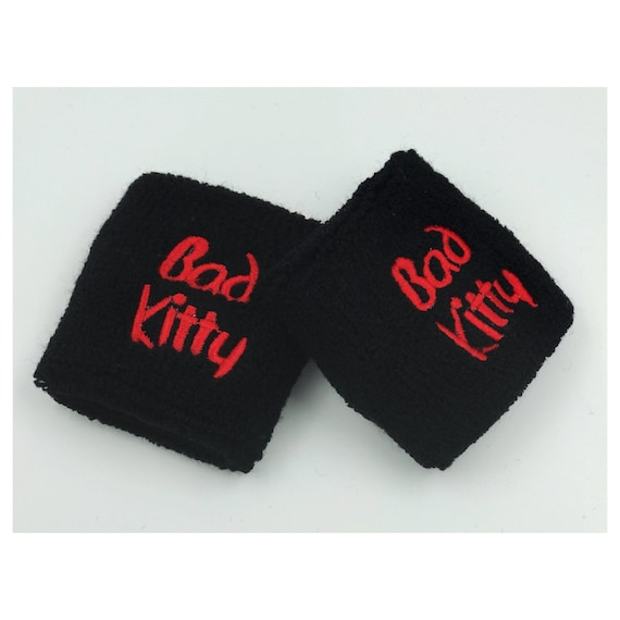 BAD KITTY Wrist Sweatbands 2 Pack - Black Red Naughty Girl Kitty Accessory - Sporty Trendy Goth Grunge Black Athletic Bad Girl Armband -