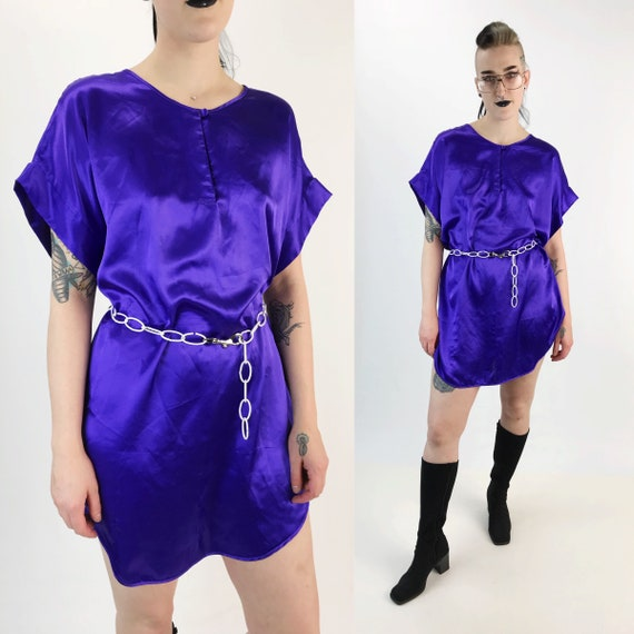 90's Silky Slip Dress Lightweight Slip On Lingerie Dress Medium - Vintage Electric Purple Long Lingerie Top Sexy Satiny Mini Shirt Dress