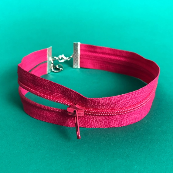 Zipper Choker HOT Pink Remade Upcycled Unique Necklace - Recycled Grunge Funky Choker Accessory One of a Kind - Double Strand Vintage Choker