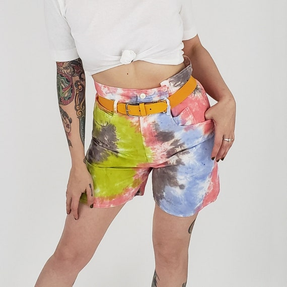 80's Vintage Remade Tiedye Shorts Small - Multi Color Tie Dye Summer Casual High Waist Shorts - Unique Long Length Upcycled Vtg Short