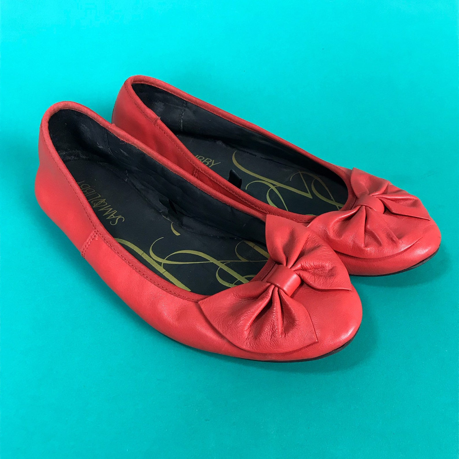 80s sam & libby bow flats size us 9 - chocolate brown cute girly leather ballet flats - spring summer everyday shoe preppy bow v