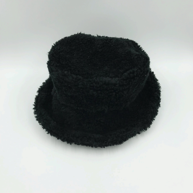 dd74c923779b 90's Black Fuzzy Faux Fur Bucket Hat - Furry Black Raver Club Kid Hat ...