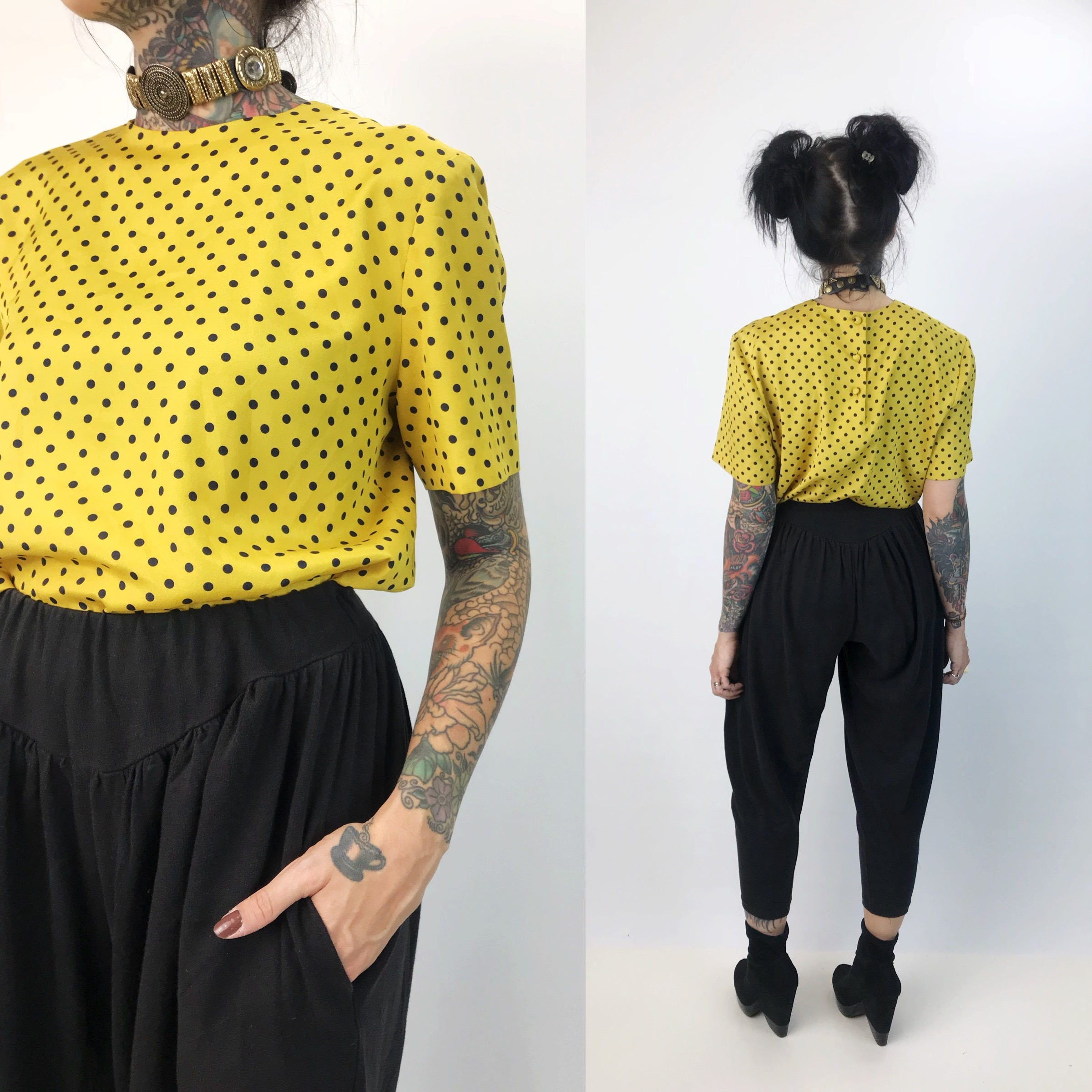 9560366230 Yellow   Black Polkadot Blouse Small - All Over Polka Dot Dressy ...