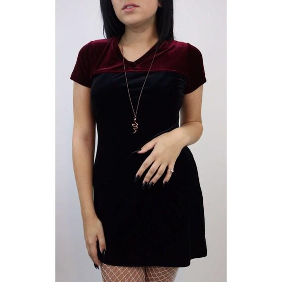 90's Mini Dress Black & Maroon Velvet Dress - Babydoll Color Block Small Womens Dress - Vintage Velvet 1990s Street Fashion - Clueless Style