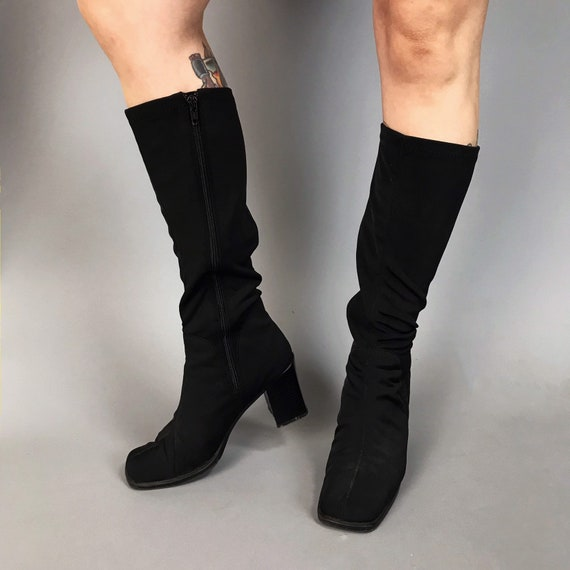 90's Tall Black Stretchy Boots w/ Chunky Heel Size US 7 - Vintage Sleek Chic Black Square Heel Womens VTG Sexy Tight Stretchy Zip Up Boots