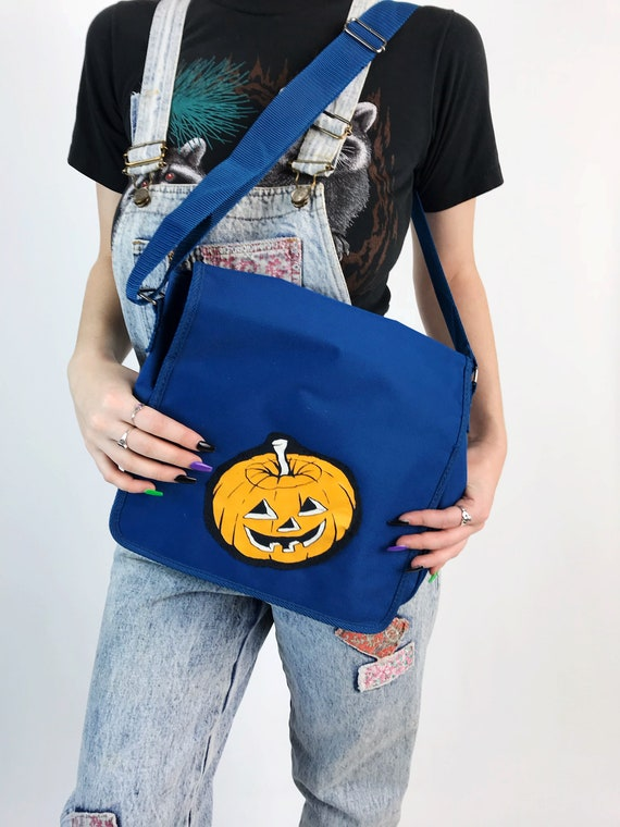 80's Spooky Cute Tote Bag With Jack-o-Lantern Patch - Vintage Upcycled Unique Large Halloween School Tote Patched Messenger Shoulder Bag
