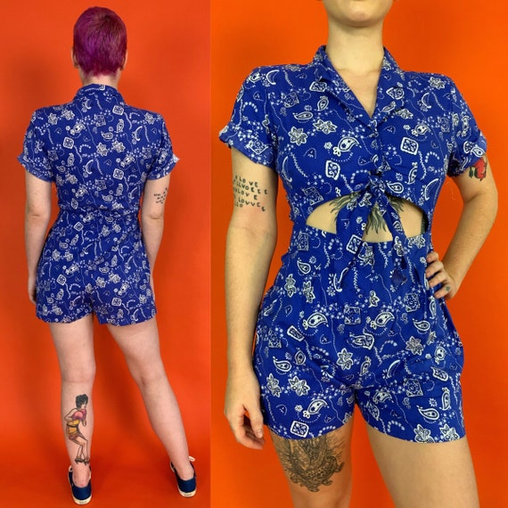 90's Deadstock Paisley Romper Playsuit Womens US 8 Medium - Blue White Allover Print One Piece Cut Out Shorts Romper - RARE Americana VTG