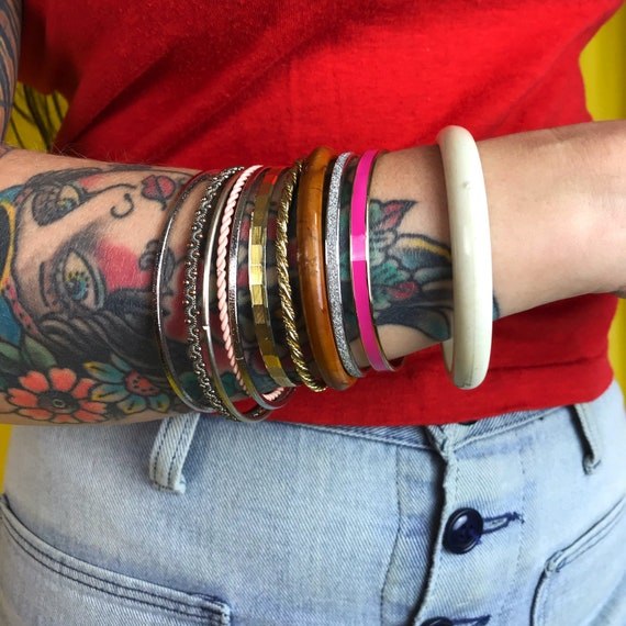 Vintage Bangle Bracelets Mixed Set 11 Bracelets - Bracelets Stackers Bangles Lot Metal Brown Pink Tone Set - Stackable Boho Hippie Accessory