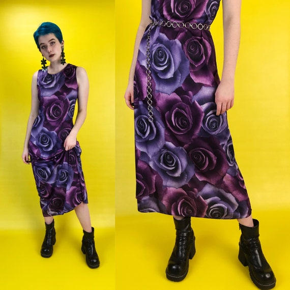90's Purple Rose Allover Print Maxi Dress Bodycon Small - Nineties Romantic Floral Realism Sleeveless VTG Long Grunge Dark Floral Valentines