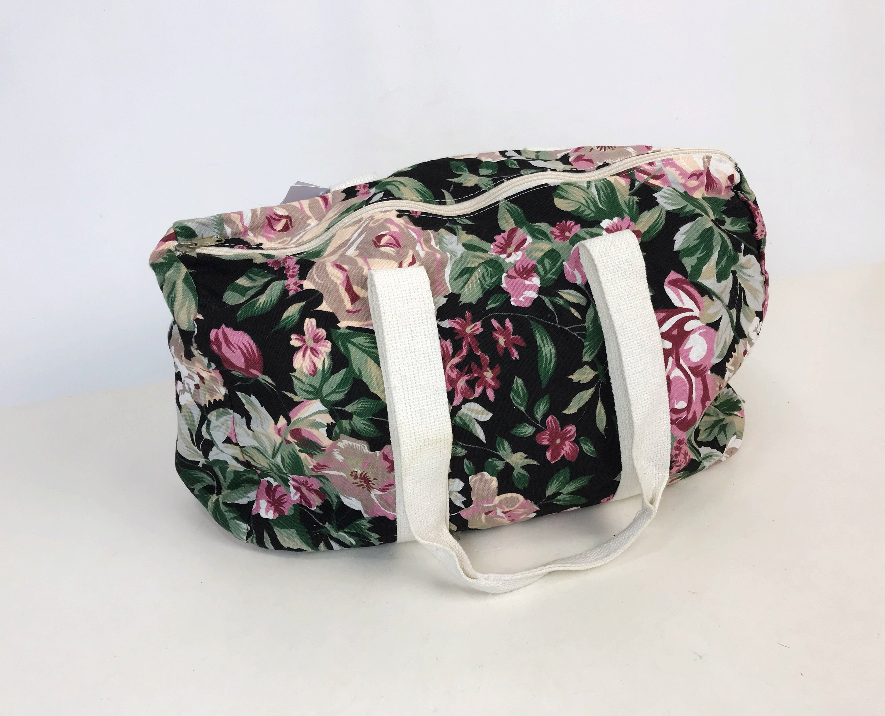 90 s Dark Floral Pink Rose Printed Carry All Bag - Slouchy Tote Bag Soft  Cotton Denim Luggage Cute Girly 90 s Sack - Large Gym Duffel Bag 97efaf2cbde88
