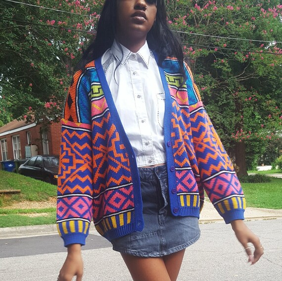 80's Rainbow Geometric Print Cardigan Medium - Colorful Acrylic Knitted Button Front Jumper - Vintage Colorblock Knit Womens Zigzag Cardigan