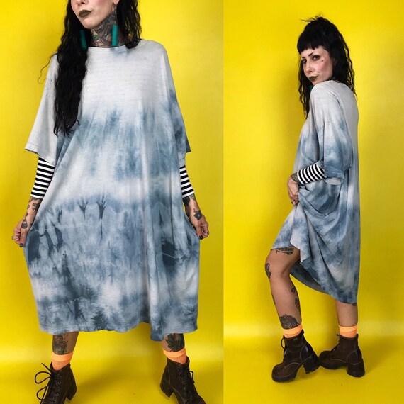 Tie Dye Oversized Long Baggy Tee Shirt Dress 6Xl Plus Size - Distressed Soft Pastel Grunge Goth Clouds Tee 3XL Long Unisex Plus Size Street