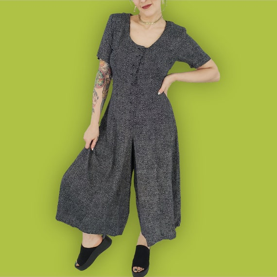 90's Navy Blue Polka Dot Pants Jumpsuit Small - Vintage Wide Leg Capri One Piece Jumper - Casual Spring Onepiece Cropped Pants Romper