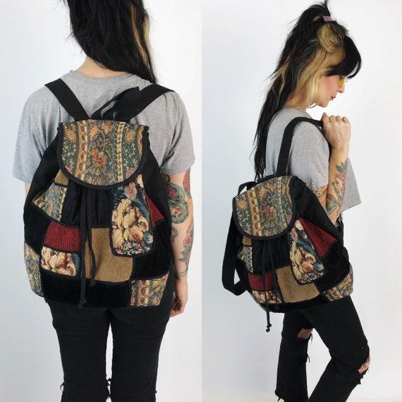 90's Patchwork Panel Black Velvet Floral Backpack - Large School Bag Floral Tapestry Book Bag Tote - Grunge Paneled Backpack 90's Aesthetic