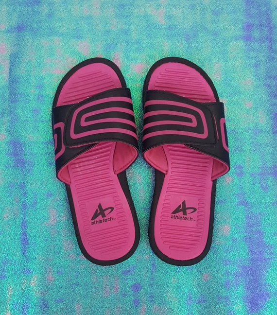 Vintage 90s y2K Black Pink Stripe Slide Sandals - 1990s VTG Womens Open Toe Athletic Sandal - Summer Slides Sporty Shoes size 5/6