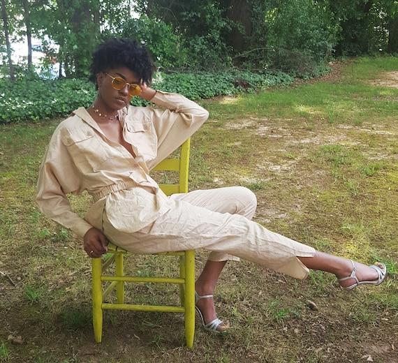 80s Tan/Beige Jumper Pants Suit - Earthy Neutral Button Front Jumpsuit Jumper One Piece Pants Suit - Minimalist Women's Silky Classic Onesie