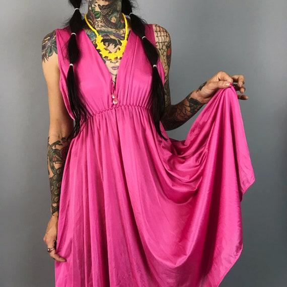 80's Empire Waist Rose Pink Slip Dress Small - Romantic Girly Lightweight Feminine Romantic Nightgown Lingerie Fuschia Feminine Date Dress