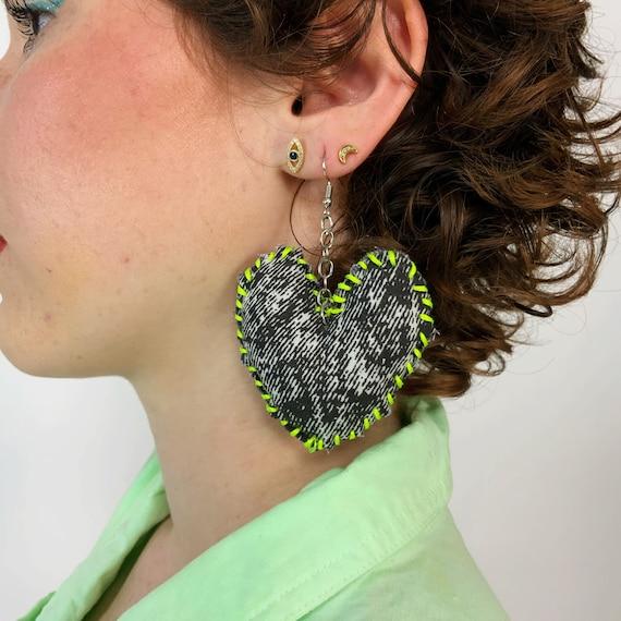 Hand Stitched Recycled Heart Plush Earrings - Neon Yellow Handmade Statement Dangle Earrings Funky Cute DIY Costume Kawaii Heart Jewelry