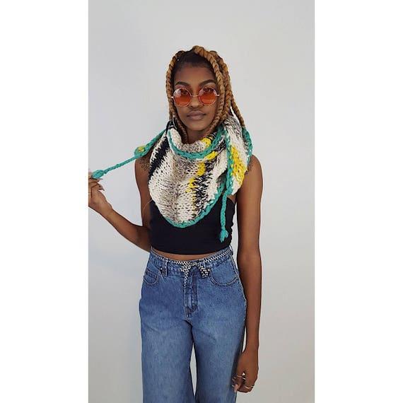 Handmade Hand Knit Eco Friendly Black White Blue Yellow Gray Shawl Wrap - Handknit Crochet Striped Wrap Scarf - Large Triangle Neckwarmer