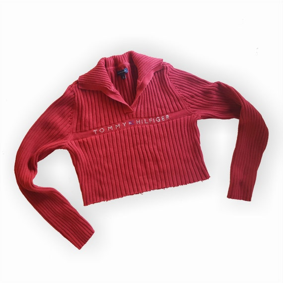 90s Red Cropped Tommy Hilfiger Sweater Small Medium - Long Sleeve Collared Knit Crop Top - Preppy Trendy Cutoff Raw Hem Fall Logo Sweater